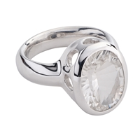 Ring Rock Crystal oval, faceted, Size 59, rhodium plated