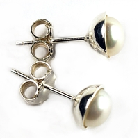 Earpin Pearl (white), Cabochon,  6mm