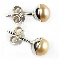 Earpin Pearl (salmon coloured), Cabochon, app. 6mm