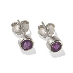 Stud Earrings Amethyst round, faceted, 4mm