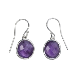 Earhooks Amethyst faceted, 3,0cm