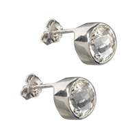 Stud Earrings Topaz white round, faceted, 8mm