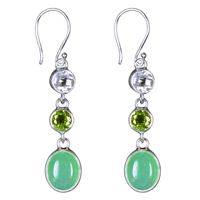 Earrings Chrysoprase Cabochon, Peridot faceted, Topaz white faceted