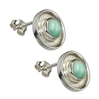 Stud Earrings Larimar round, cabochon