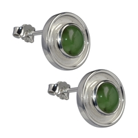 Stud Earrings Nephrite round