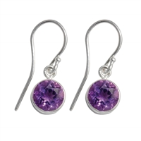 Earrings Amethyst round faceted