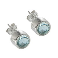 Stud Earrings Topaz blue round, faceted, 6mm