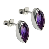 Stud Earrings Navette Amethyst faceted