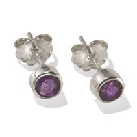 Stud Earrings Amethyst round, faceted, 6mm