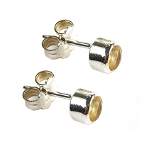 Stud Earrings Citrine (heated) round, faceted, 6mm