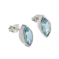 Stud Earrings Navette Topaz blue