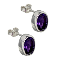 Stud Earrings Amethyst oval, faceted