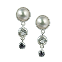 Stud Earrings Pearl, Topaz white and Spinel black faceted