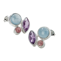 "Stud Earrings ""Blau & Beere"" Aquamarine, Amethyst (faceted), Tourmaline red"