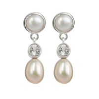 Stud Earrings Pearl round, Topaz white faceted, Pearl oval