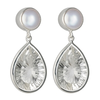 Earrings Pearl white (bleached), Rock Crystal, faceted, 2,7cm