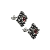 Stud Earrings Square with Spheres, Tourmaline red