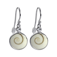 Earrings Nautilus Shell, Topaz white faceted