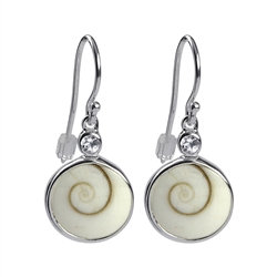 Earhooks Nautilus Shell, Topaz white faceted