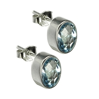 Stud Earrings Topaz blue oval, faceted, 7 x 9mm