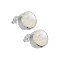 Stud Earrings Labradorite white, round, faceted, 9mm