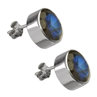Stud Earrings Labradorite dark, round, faceted, 11mm