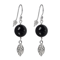 Earrings Spheres Onyx, Leaf, 40mm