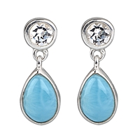 Stud Earrings Larimar (Cabochon), Topaz white, faceted, 17 x 6mm