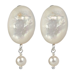 Earclips Mother of Pearl, Pearl (white), 3,0cm