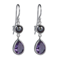 Earrings Amethyst faceted, Pearl, 3,5cm