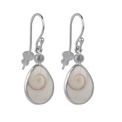Earhooks Shiva Eye Shell (drop), Topaz, 3,3cm