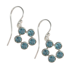Earhooks Topaz blue, faceted, 2,6cm