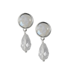 Ear Studs Labradorite (white), Rock Crystal, faceted, 3,0cm