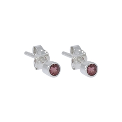 Stud Earrings Garnet round, facetted, 3mm