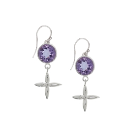 Earhooks Amethyst facetted with Silver Cross, 4,0cm