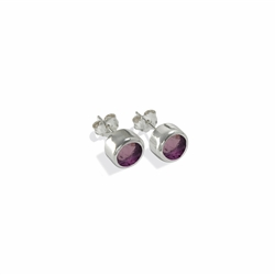 Stud Earrings Tourmaline (Rubellite) facetted (3mm)