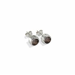 Stud Earrings Smokey Quartz facetted (3mm)