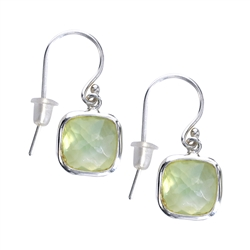 Ear Hooks Prehnite facetted, 2,5cm
