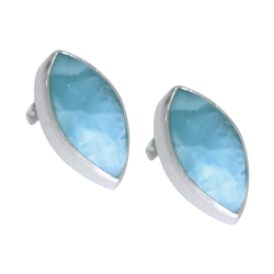 Ear Studs Larimar Navette facetted, 2,0cm