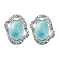 Series 9 Design Earstud Larimar and Topaz, 13x11mm