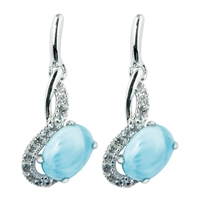 Series 1 Design Earring Larimar and Topaz, 13x11mm