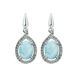 Series 10 Design Earring Larimar and Topaz, 13x11mm