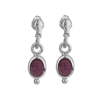 Stud Earrings Tourmaline (pink) oval, 2,3cm, rhodium plated