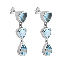 Ear Stud Topaz (blue), faceted, 3,3cm, rhodium plated