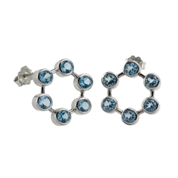 Earring Topaz faceted, 2,0cm, rhodium plated