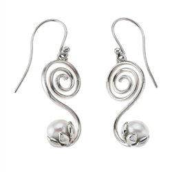 Earhooks Spiral with Pearl, 3,0cm, rhodium plated