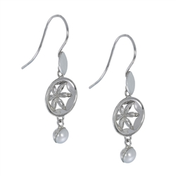 "Earhooks ""Flower"" with Pearl, 4,2cm, rhodium plated"