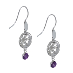 "Earhooks ""Flower"" with Amethyst, 4,2cm, rhodium plated"