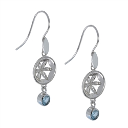 "Earhooks ""Flower"" with Topaz (blue), 4,2cm, rhodium plated"