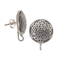 Ear Stud Flower of Life for Change Elements, 2,0cm, rhodium plated
